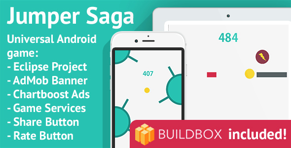BuildBox Game Template: Jumper Saga - Android Universal Game; Easy Reskin; AdMob, Chartboost - CodeCanyon Item for Sale