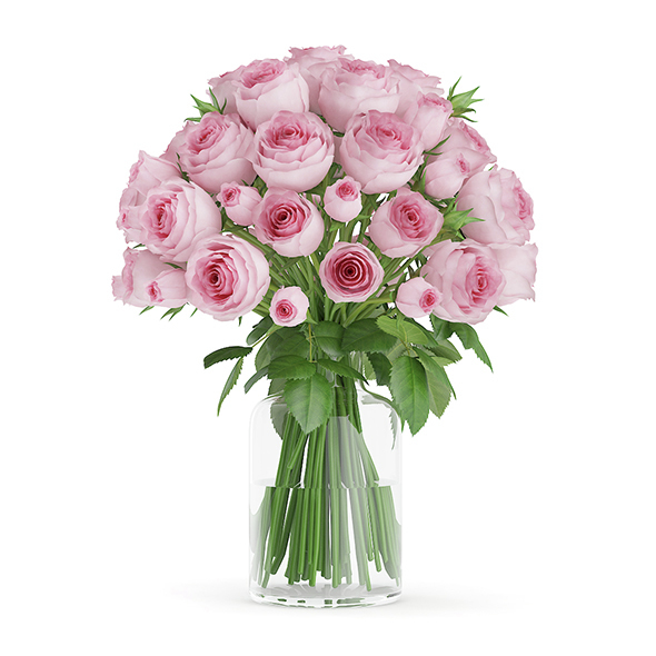 Pink Roses in Glass Vase - 3DOcean Item for Sale