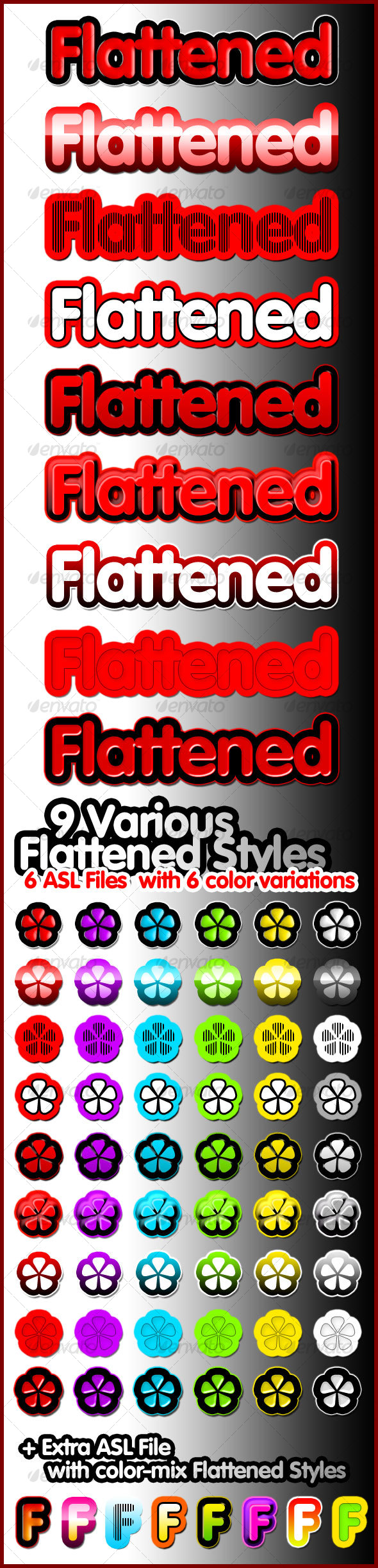 9 Various Flattened Styles - Text Effects Styles