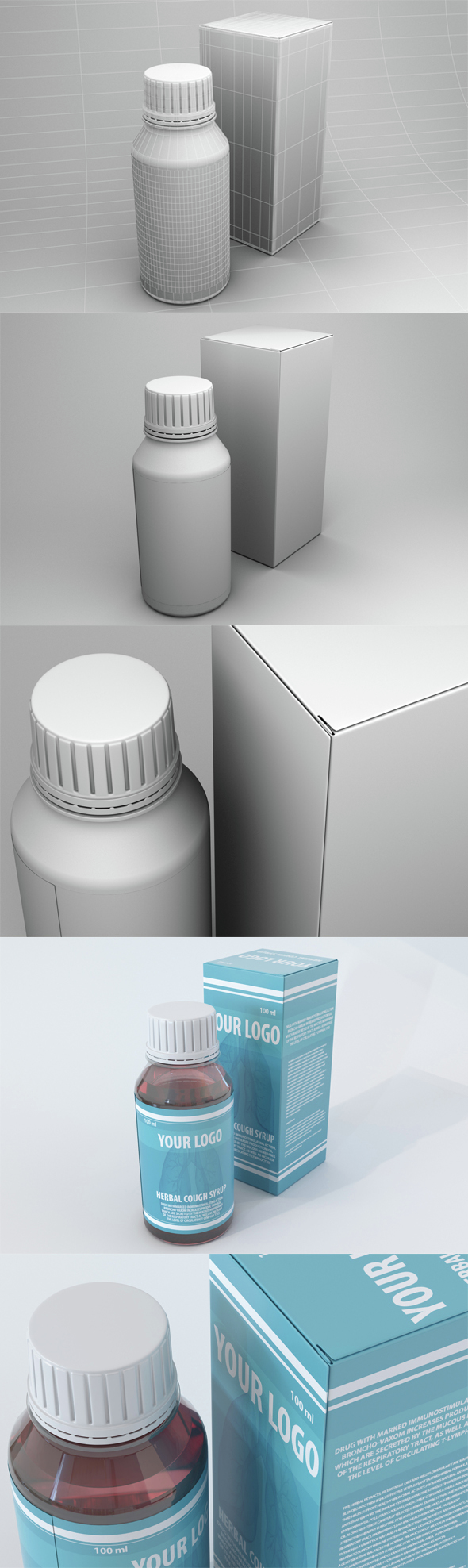 high poly Medical bottles and box - 3DOcean Item for Sale