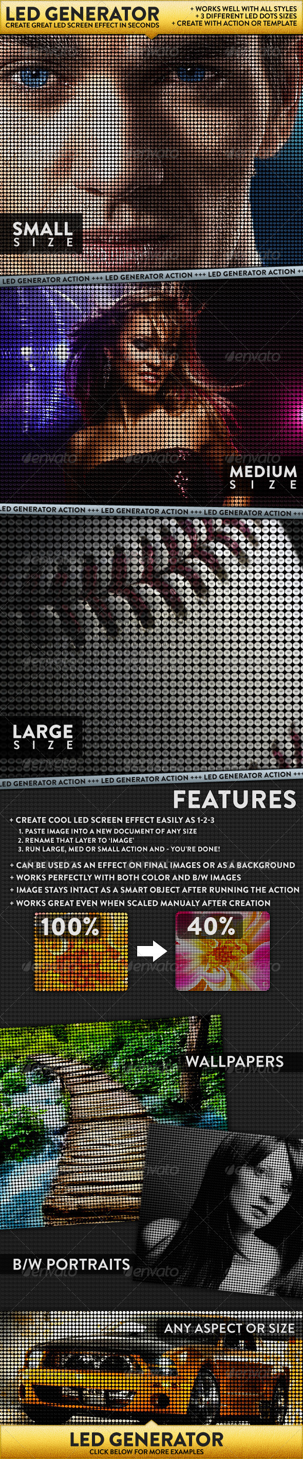 LED Dot Screen Effect Generator - Photo Effects Actions