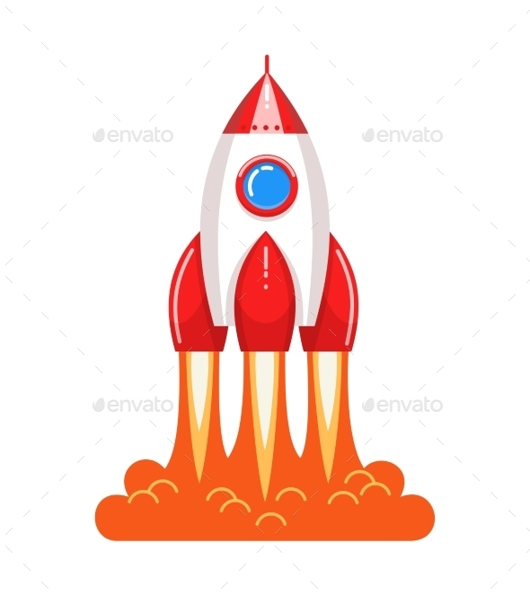 Cartoon Style Launching Rocket with Flame