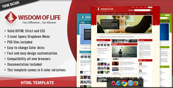 Wisdom of Life - HTML Template + PHP Contact Form - Nonprofit Site Templates