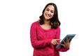 Portrait of beautiful young woman pointing at digital tablet against white background