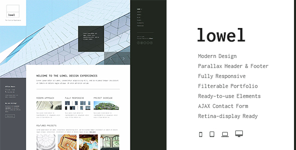 Lowel - The Modern HTML Template with Parallax