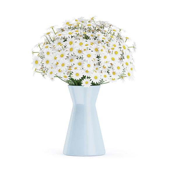 Small Daisies in Blue Vase - 3DOcean Item for Sale