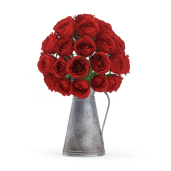 Red Roses in Metal Kettle - 3DOcean Item for Sale