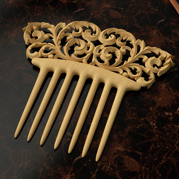 Floral swirls hair comb - 3DOcean Item for Sale