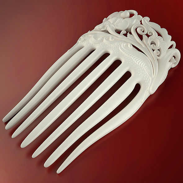 3DOcean Flower hair comb printable 14566951