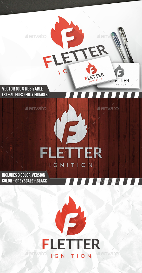 Fire F Letter Logo