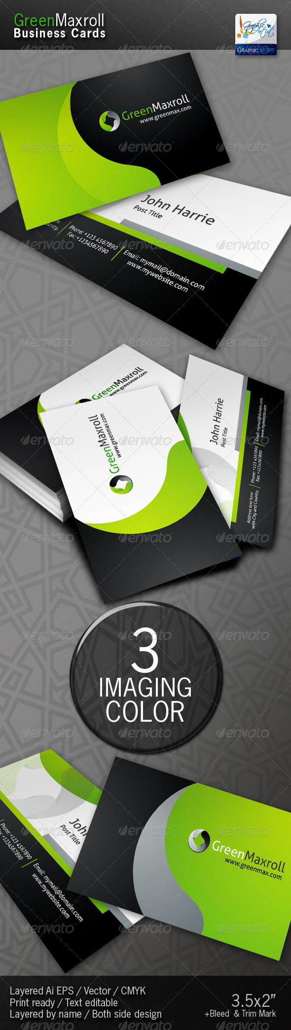 GraphicRiver GreenMaxroll Business Cards 1455817