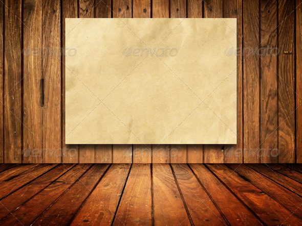 Paper on Old wood wall - Stock Photo - Images
