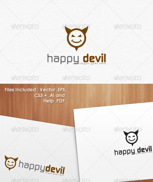 Happy Devil Logo Template Design
