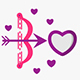 Bright pink love vector icons set