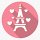 Happy Valentines Day round pink vector icons