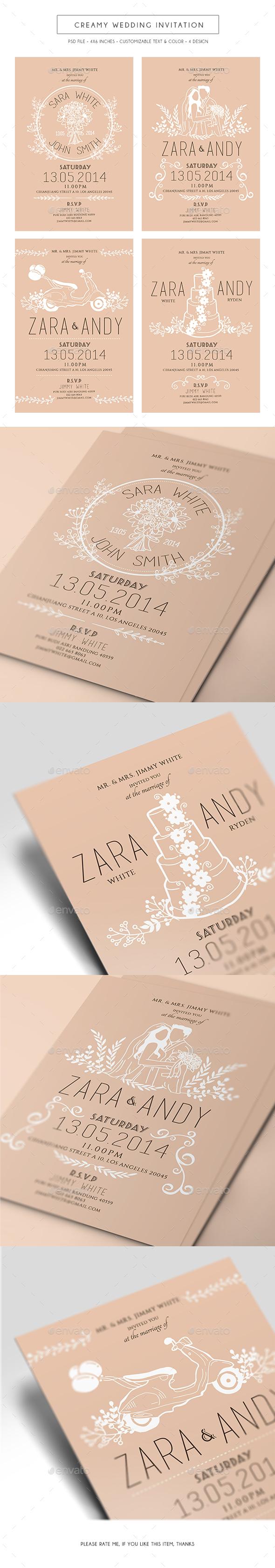 Creamy Wedding Invitation