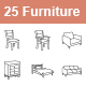 Furniture outlines vector icons