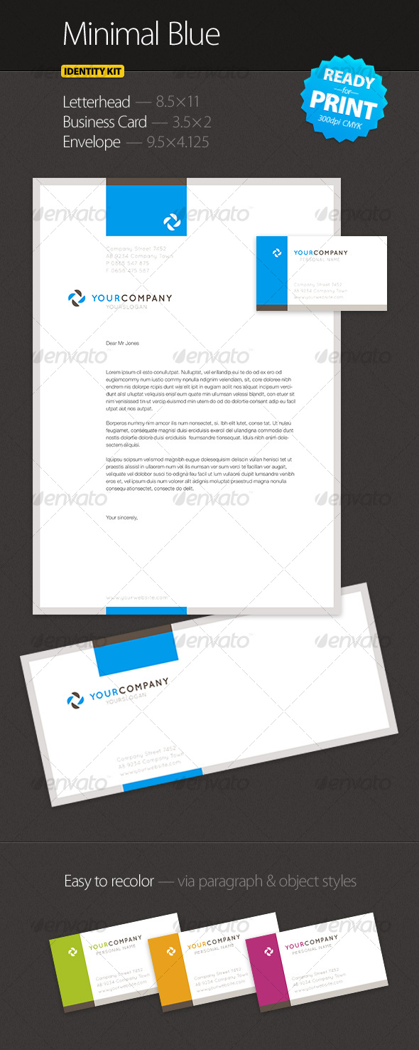 Minimal Blue - Identity Kit - Stationery Print Templates