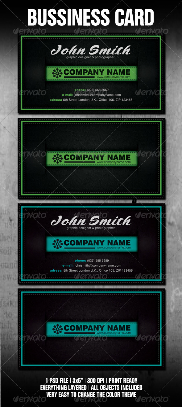 Stitched Black Leather Business Card Template