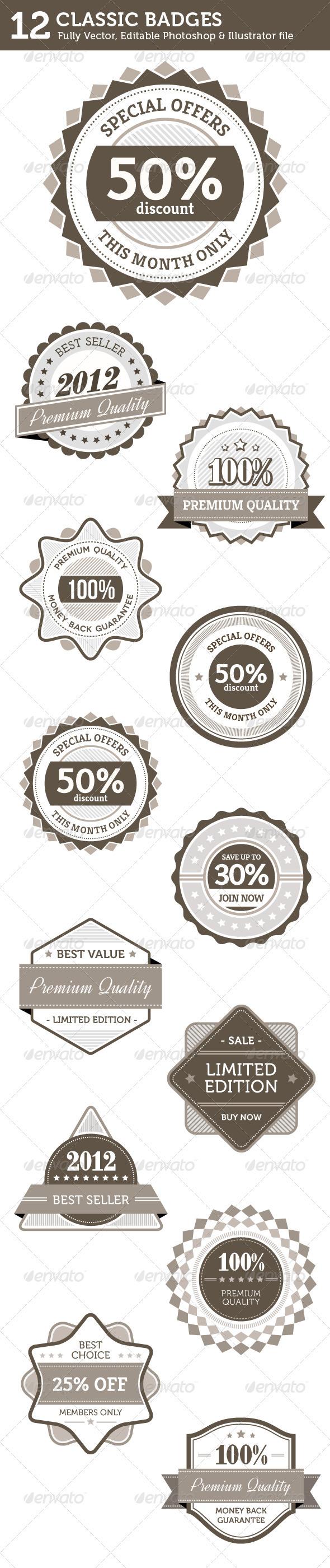Classic Badges - Badges & Stickers Web Elements