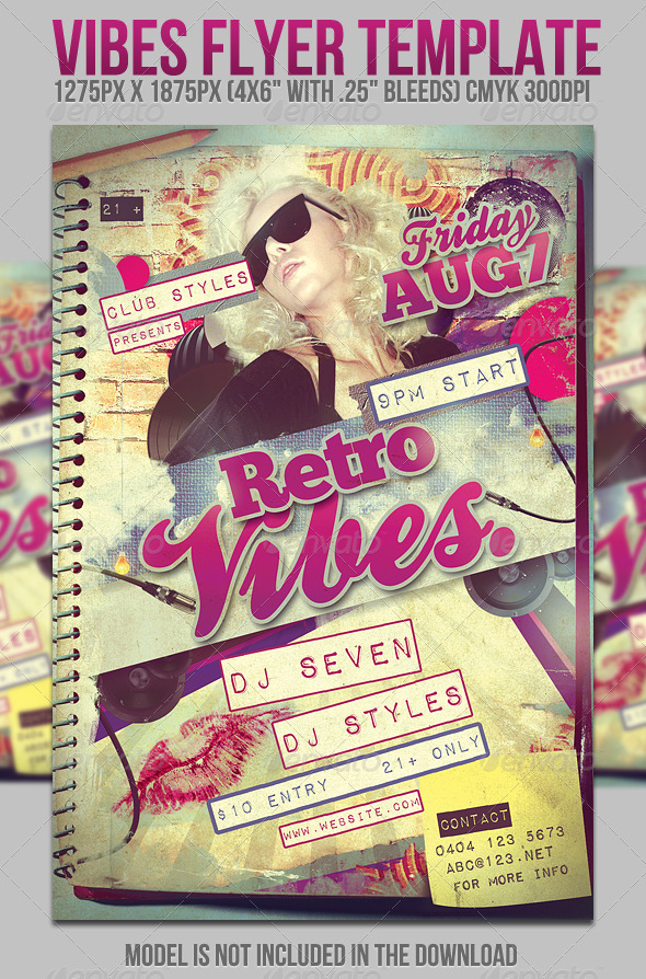 Graphic River Vibes Flyer Template Print Templates -  Flyers  Events  Clubs & Parties 417739