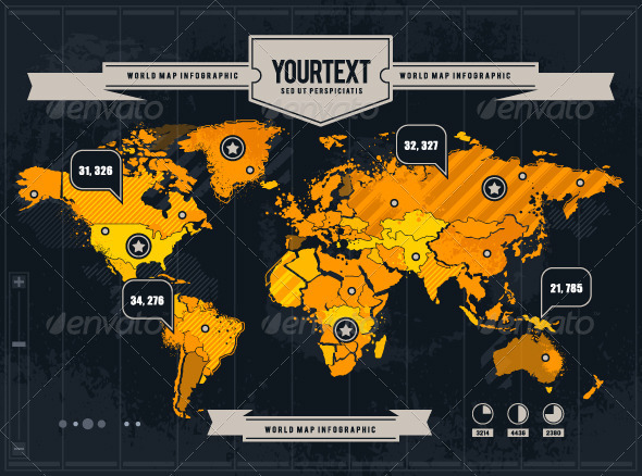 GraphicRiver Vector World Map with Grunge and Infographic Elements 1457659