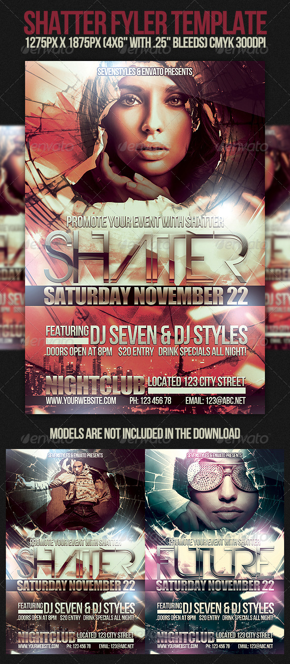 Shatter Flyer Template - Clubs & Parties Events