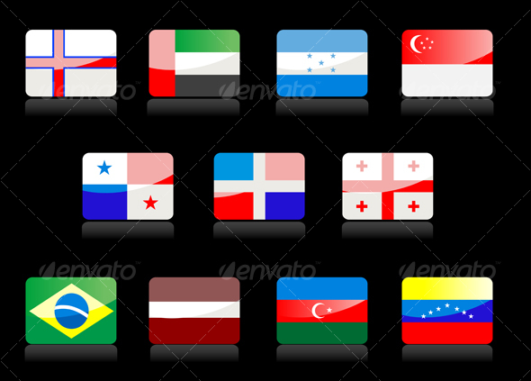 Glossy national flags