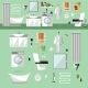 Bathroom Interior With Furniture. Vector