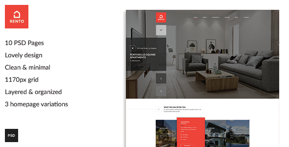 Rento - Real Estate PSD Theme