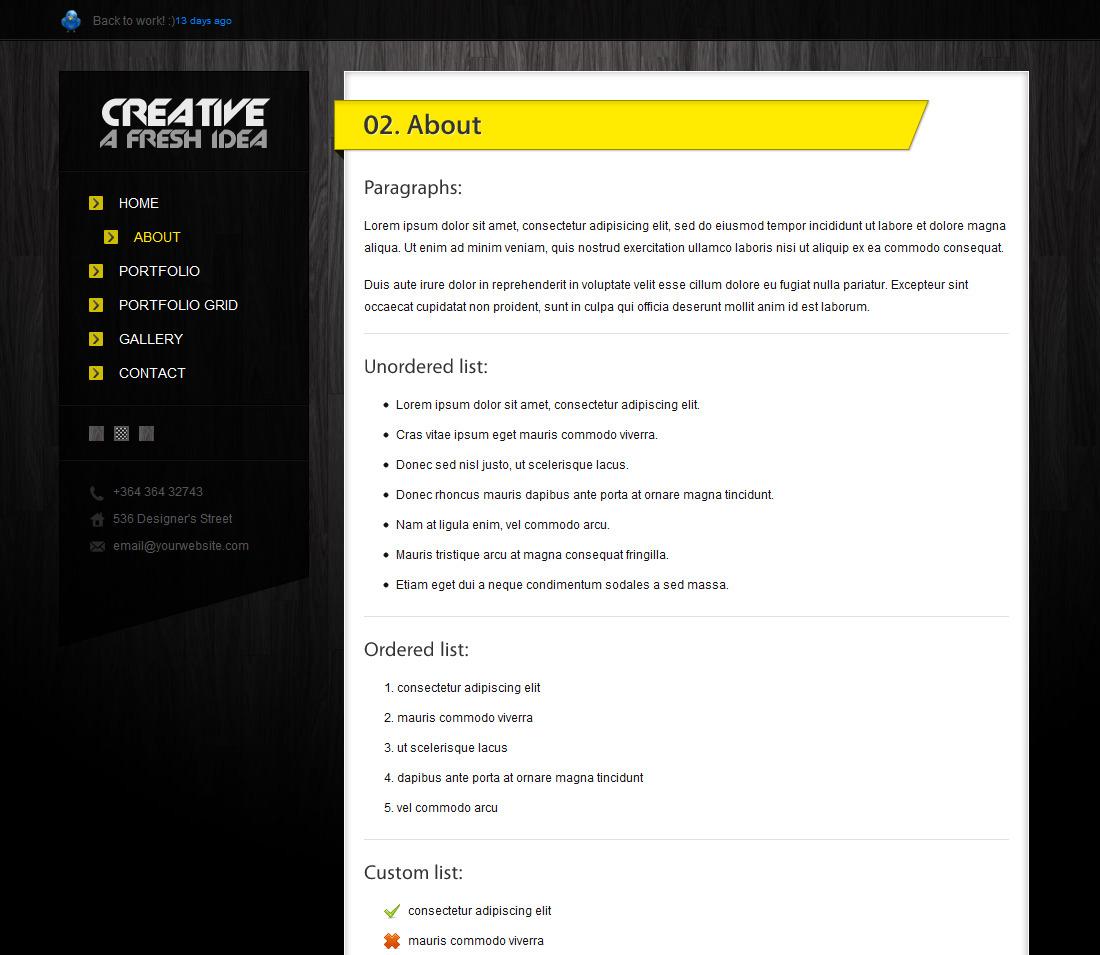 CREATIVE   HTML/CSS PORTFOLIO TEAMPLATE
