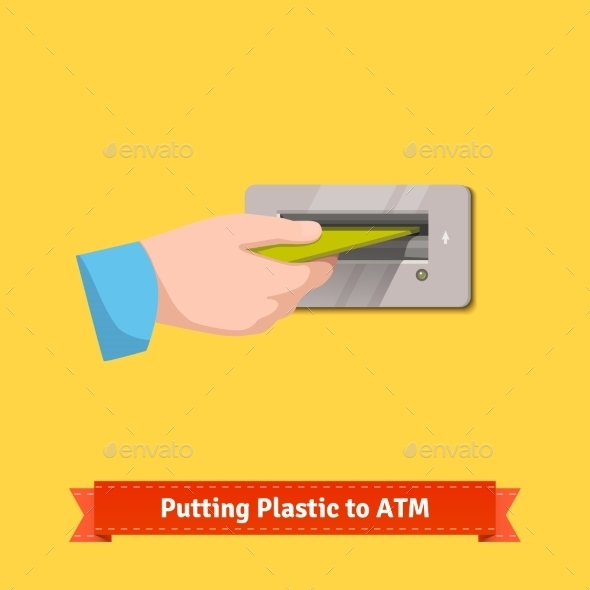 Male Hand Putting Credit Card To ATM Machine Slot