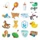 Baby Cartoon Icons Set