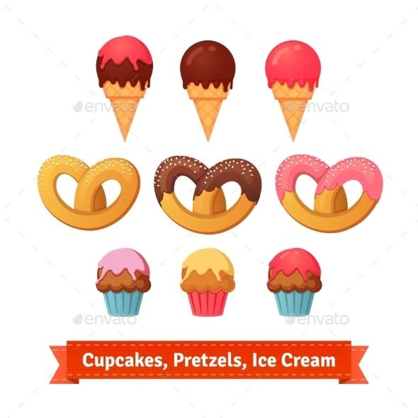 Cupcakes, Pretzels And Ice Cream