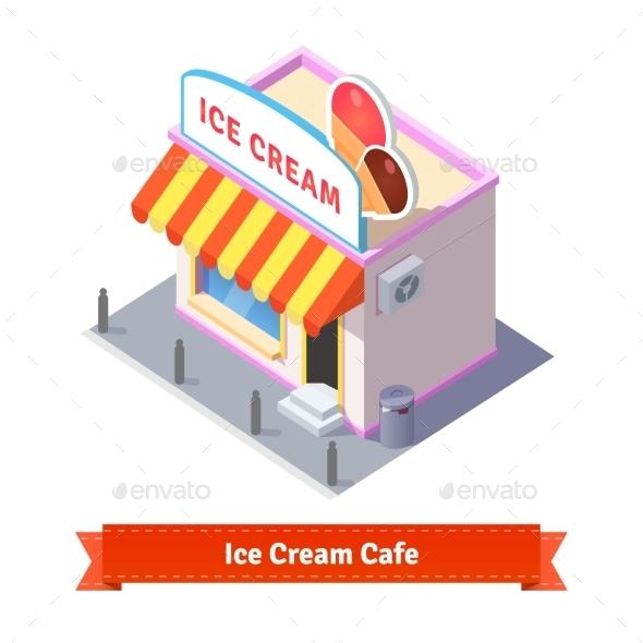 Ice Cream Restaurant And Shop Building