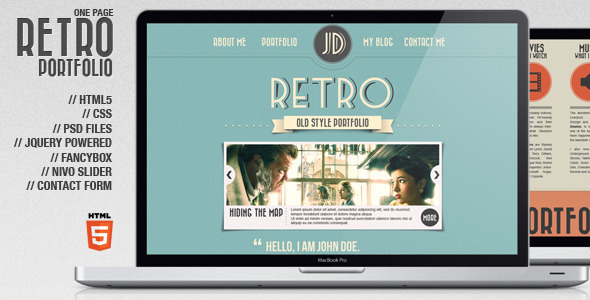 ThemeForest Retro Portfolio One Page Vintage Template 1461416