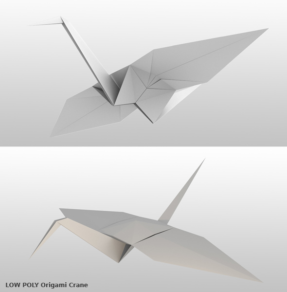Origami Crane 3D model - 3DOcean Item for Sale