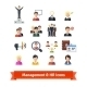 Management and Human Resources Flat Icons Set