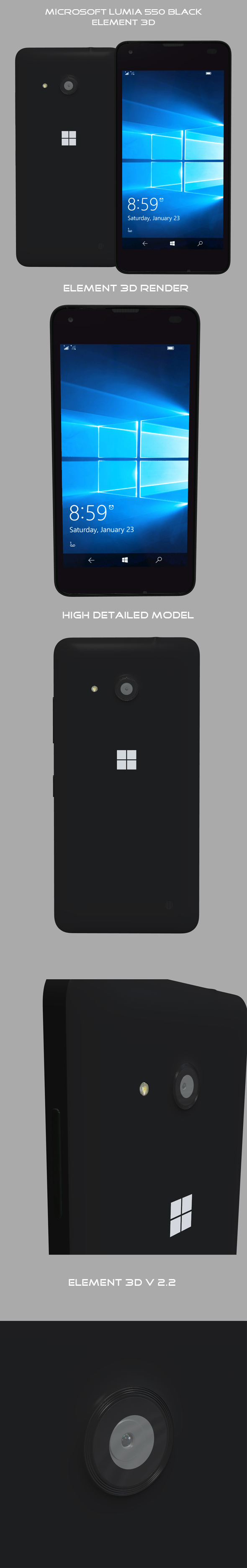 Element3D – Microsoft Lumia 550 Black - 3DOcean Item for Sale