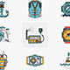 Flat line style nautical vector icons.