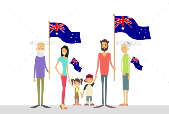 Australia Day National Flag Big Family Kids