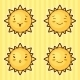 Set of Kawaii Suns with Different Faces
