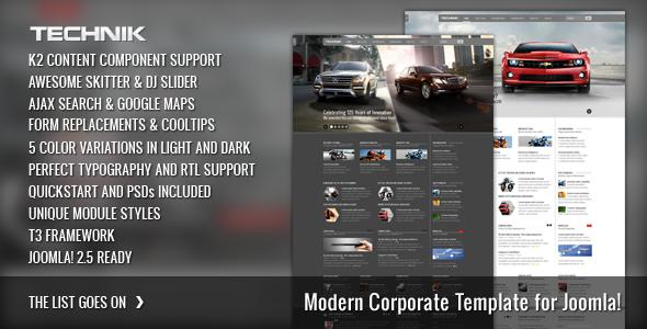 ThemeForest Technik Modern Corporate Template for Joomla 581640