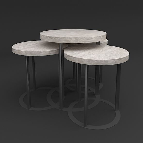 Designer Side Table Set - 3DOcean Item for Sale