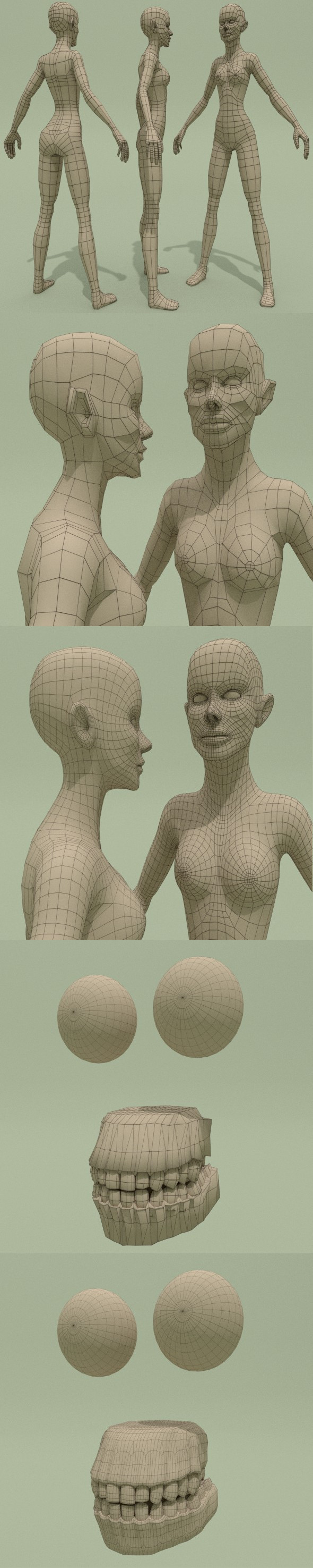 Low Poly Base Mesh Woman - 3DOcean Item for Sale