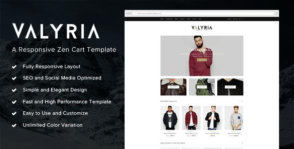 Valyria - A Responsive Zen Cart Template