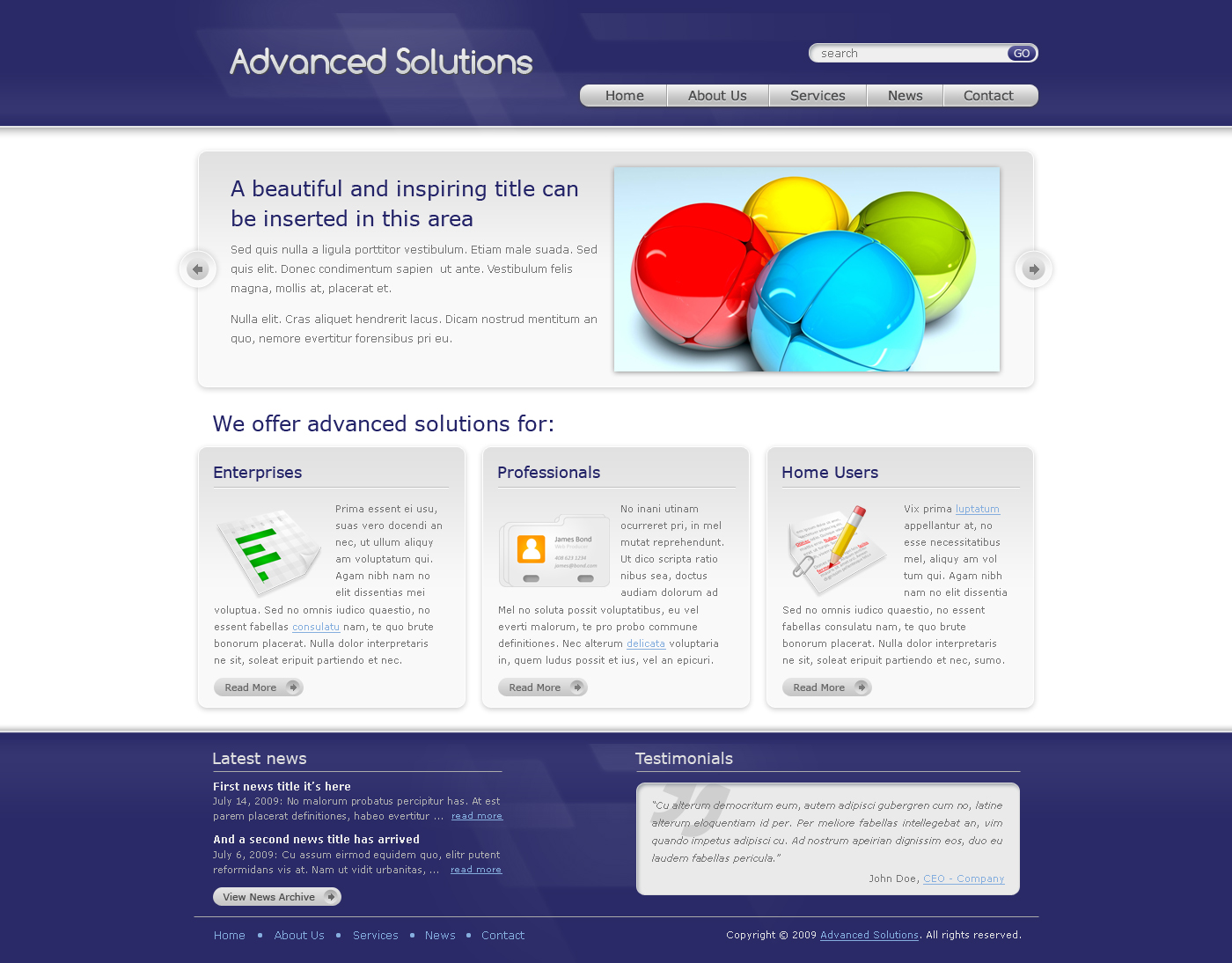 Advanced Solutions - Professional Business Theme - Here we have the home page of Advanced Solutions template - blue theme version. It contains a slider, 3 boxes and a specially designed footer.
