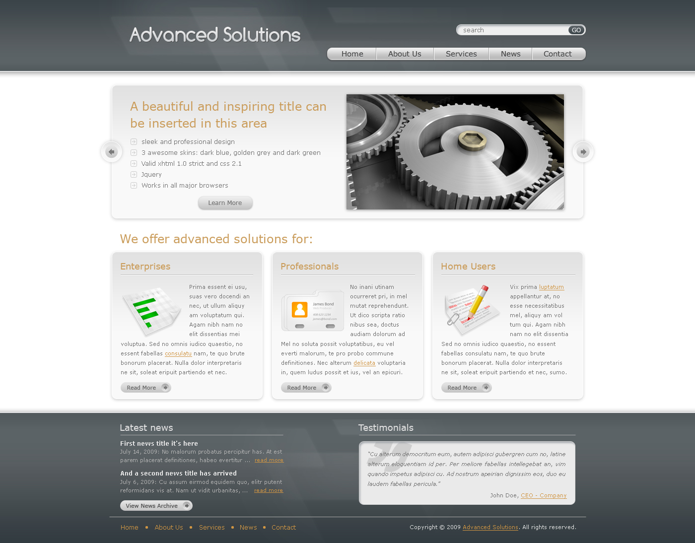 Advanced Solutions - Professional Business Theme - Here we have the home page of Advanced Solutions template - grey theme version. It contains a slider, 3 boxes and a specially designed footer.