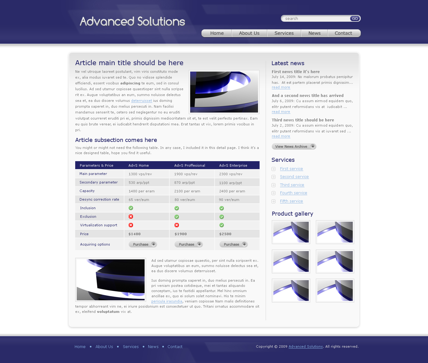 Advanced Solutions - Professional Business Theme - Here we have the detail page of Advanced Solutions template - blue theme version. It contains a paragraph with right alligned picture, another one with left alligned picture and a nice table. On the right side we have a latest news block, services list block and also a photo gallery section. The footer is simple here, contains just a menu and copyright text.
