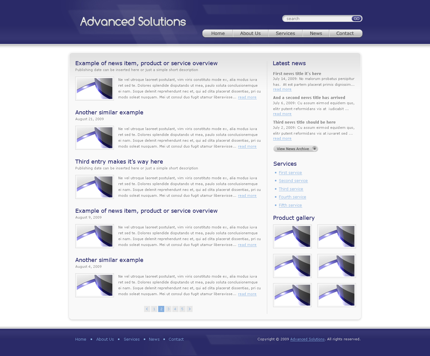 Advanced Solutions - Professional Business Theme - Here we have the item list page of Advanced Solutions template - blue theme version. In contains a list of items with image, item title, item title description/date and preview text in the right side of the image. On the right side we have a latest news block, services list block and also a photo gallery section. The footer is simple here, contains just a menu and copyright text.